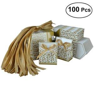 100PCS 파티 선물 Bowknot 캔디 종이 자루 파우치 가방 (골드) 가방을 부탁