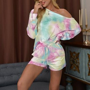 2PCS Pajamas Set Womens Tie Dye Short Sleeve Tops + Shorts Sleepwear Size Patchwork Lounge Sets Homewear X0923