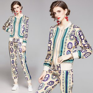 New Arrival Spring Fall Runway Two Pieces Womens Ladies Casual Sets Vintage Floral Print Zippered Top Jacket Coat Pants Tracksuit Outfits