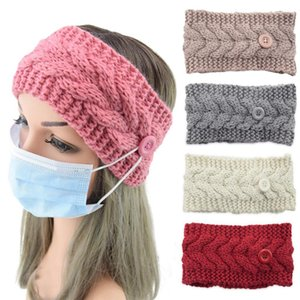 Face Mask Headband With Button Winter Warm Knit Hairband Ear Protective Women Gym Sports Yoga Hair Accessories DDA563
