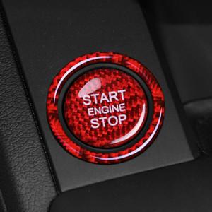 Para Audi A3 A4 A5 A6 C5 C6 Q5 Q7 S3 S6 S7 Fibra de Carbono Fibra de Carbono Start Stop Botão Botão De Paragem Capa Chave Chave Autocolantes e Decalques