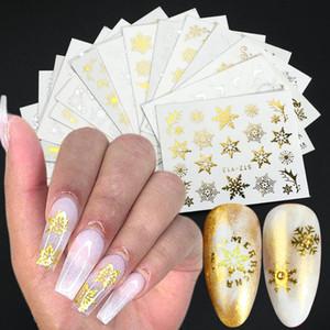 Nail Adesivi oro d'argento del fiocco di neve di disegno di natale cursori per Nails Foil manicure Tatuaggi moda Stickers LASTZ-ya