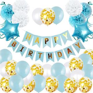 Latex redemoinho bebê papel set balão puxar bandeira flor bola primeiro aniversário partido decoração set