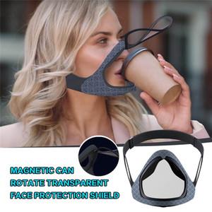 سيليكون شفاف المغناطيسي قناع الأزياء القابل للإزالة المضادة للضباب درع الوجه أقنعة للتنفس قابلة لإعادة الاستخدام الشفاه قناع للصم والبكم GWE1780