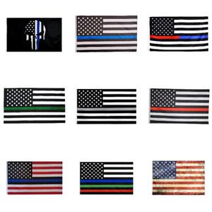 Novo 90 * 150cm Blueline EUA Polícia Bandeiras 2ª Alteração Vintage Bandeira Americana Poliéster Fina Linha Azul EUA Bandeira T500284