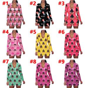 여성 옷을 빌려 섹시한 슬림 캐주얼 패턴 인쇄 긴 소매 반바지 여성 새로운 패션 홈 바디 수트 장난 꾸러기 2020
