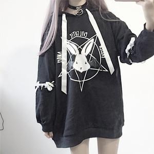 Paris Girl Harajuku Print Lace Up Women Fleeces Hoodies Gothic Punk Oversize Velvet Hooded Sweatshirt Pullover Streetwear