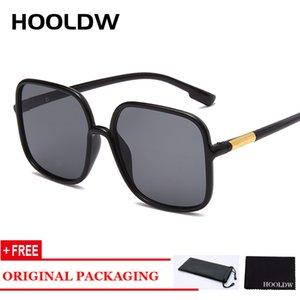 HOOLDW Oversize Kare Güneş Kadınlar Vintage Marka Tasarımcı Büyük Çerçeve Güneş Moda Seyahat Gözlük UV400 gözlük