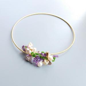 Lii Ji Echte Amethyst Diopside Barockperle Handgemachte Choker Offene Halskette mit Schmuckschatulle für Frauen