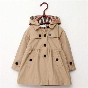 2020 otoño nuevo listado niños ropa para niños niña otoño princesa abrigo sólido color medio largo lanza zanjada ropa exterior de bebé