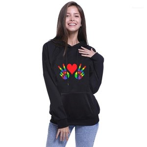 Famous Hoodie Rainbow Victory Sign Printed Pullover Hoodie Womens Short Hoodies New Popular Designer Couples Apparel LGBT