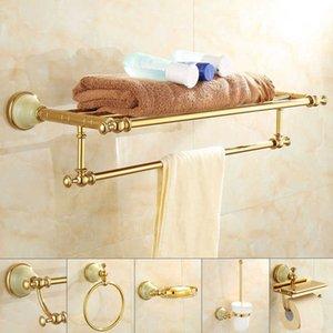 Tuqiu Banyo Aksesuarları Seti Altın Banyo Raf, Havlu Raf, Havlu Askı Kağıtlık, Tuvalet Fırçası Tutucu Banyo Donanım Seti