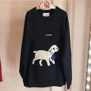 Nova Primavera e no Outono linda letra luxo padrão de cordeiro impresso camisola em torno do pescoço das mulheres pulôver ocasional solta Moda Top Style Star