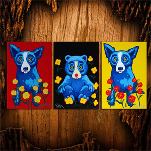 George Rodrigue Blue Dog 5-1,3 Pieces HD Canvas Print Home Decor Art Painting  (Unframed Framed)