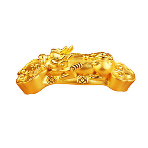 New Arrival Solid 24K Yellow Gold Bracelet 3D 999 Gold Dragon Son Pixiu Bracelet 1.85g
