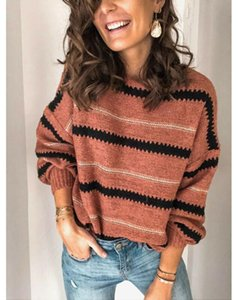 Womens Sweater Autumn Winter Warm Knitted Sweaters Pullover 2020 Ladies O Neck Long Sleeve Patchwork Casual Jumper Plus Size