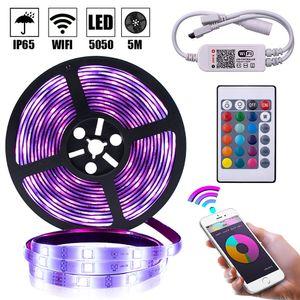 LED tiras de iluminação de férias 5m RGB 5050 impermeável LED tira luz smd 44 chave remota wifi wifi luz sem fio quarto decoração-l