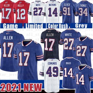 17 Josh Allen 14 Stefon Diggs Tre'Davious Bill White Buffalo jersey del fútbol Tremaine Edmunds 91 Oliver Zack musgo Thurman Thomas Jim Kelly