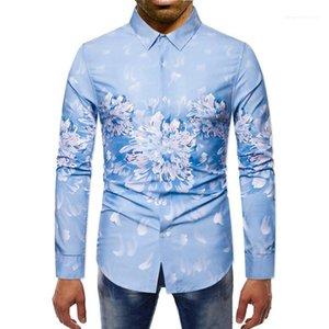 Одежда цифровой печати Мужские дизайнерские футболки Мода цветочным принтом однобортный мужские рубашки вскользь отворотом шеи Мужчины