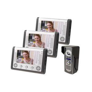 "Yobang Security 3 Monitor Kits Home Intercom Video Door Phone 7""Doorbell Camera Door Access Control System"