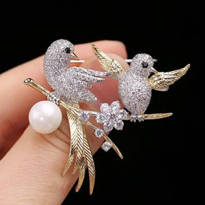 Korean brand high quality micro-inlaid zircon bird animal brooch fashion women luxury shiny zircon pearl brooch pins accessories jewelry
