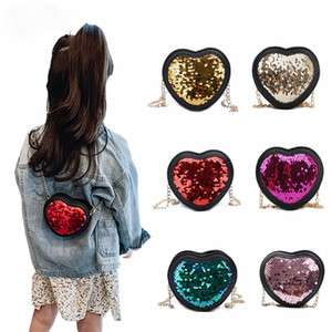2020 Mini Clutch Purse Cute Heart Sequins Crossbody Bags for Baby Girl Small Coin Wallet Pouch Girls Purses