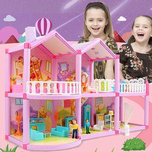 لعبة فتاة DIY بيت الدمية الأميرة دمى للLOL دمية فيلا القلعة مع اثاث محاكاة دريم للأطفال LJ200909