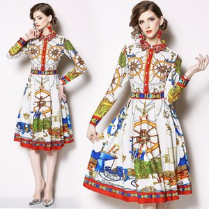 2020 New Fashion Party Dresses Print Long-sleeved Dress Female Pleated Dress Maxi Dresses for Women Elegant Dress 0E7O