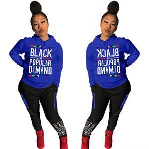 La domanda S-3XL Donne Designers due pezzi Outfits Black Di Popolare Lettera con cappuccio + delle ghette dei pantaloni della tuta con cappuccio Sport casuale del vestito E92706