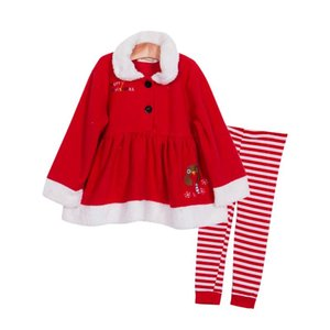 Christmas Infant Baby Girl Dress Coat+Stripes Pants Outfits Cute Kids Clothes Set Suit autumn winter clothes