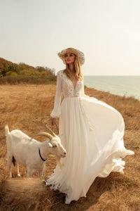 Bohemia Chiffon Wedding Dresses Beach V Neck Long Sleeves Appliqued Lace Ruched Bridal Gown Custom Made Sweep Train A-line Bridal Dress