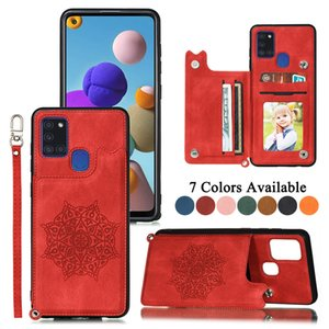 Card Holder Case for Samsung Galaxy S20 Ultra S10 Plus A31 A51 A21s A71 A30 A50 S10e Note 10 Pro Magnetic Stand Wallet Hand Strap Cover