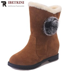RIBETRINI Women Classic Flock Low Heel Fashion Mid Calf Shoes Women Brand Casual Leisure Boots Solid Consise Boots