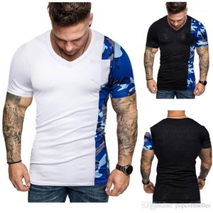 Collar Short Sleeve T-shirt Casual Males Tees Mens New Fashion Designer Tshirt Personality Camouflage Patchwork Casual