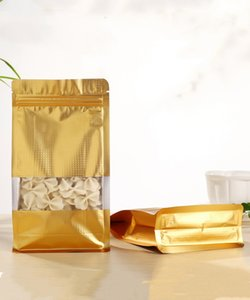 50pcs em relevo de ouro em pé oito bordas zip bloqueio saco pacote zipper com janela fosco armazenamento de alimentos resealable saco de café saco de chá mylar