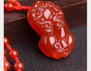 New style red agate brave men and women jade pendant ice type chalcedony pendant sweater chain necklace