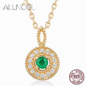 ALLNOEL 925 Sterlingsilber-Frauen-Halskette 100% natürliche rosa Turmalin Emeralds 2.5mm echter goldener Verlobungshoch Schmuck