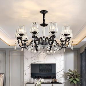 Americana Soggiorno lampadari moderni Atmosphere Hotel Villa portato lampadario di cristallo di illuminazione semplice sala da pranzo della lampada pendente di cristallo nero