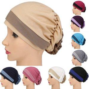 Frauen Hat Europa Blume Beanie Muslim Kopftuch Elastic Headwrap Haar-Zusätze Chiffon Hut gorros mujer invierno Motorhaube Cap