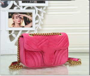Red Middle 22cm x7cm x 14cm Women Shoulder Bags Classic Gold Chain Velvet Bag Heart Style Women Bag Handbag Tote Bags Messenger Handbags