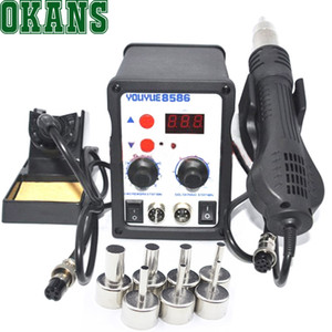 700W Soldering Station 8586 2 in 1 SMD Rework Station Hot Air Gun + Electric Solder iron For Welding Repair Tools Kit 220V 110V
