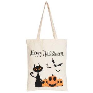 Resuable Pliable Halloween Sacs fourre-tout lettres fantôme citrouille imprimé toile Casual Sac Portable enfants Collations cadeau Sac à main VT1590