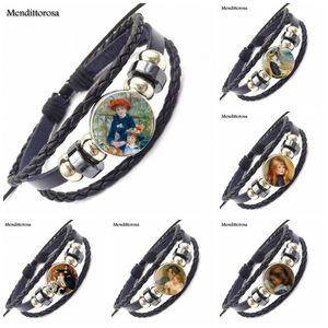 Couro EJ Glaze vidro Cabochon Preto Bracelet Bangle Tempo Pedra Jóias Por PRESENTE DO DIA DE Renoir Valentine