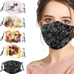 Nouveau modèle de loup chat personnalité de la mode filtre fiche coton masque d'impression numérique adulte lavable PM2,5 antipoussière masque réutilisable