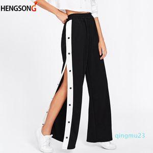Wholesale-Side Buttons Split Tennis Pants Women Sports Pants Loose High Waist Long Wide Leg Workout Gym Fitness