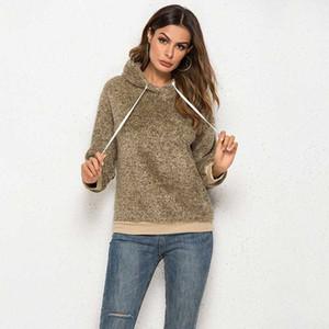 Women Hoodies Sweatshirts Plush Hooded Drop-shoulder Pullover Hooded Sweatshirt Autumn Winter Coat Warm Outerwear Tops Female