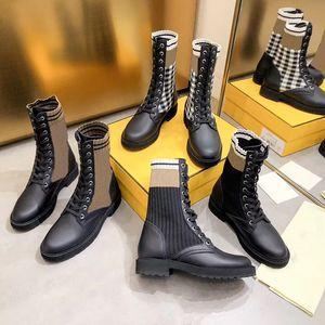 Designer Rockoko Stivali da combattimento per le donne della caviglia Martin Stivali di pelle maglia Biker Boots Stretch in tessuto Inserti in Australia Booties invernali