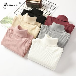 Yanueun Turtleneck Sweaters Basic Solid Women Long Sleeve Casual Soft Sweater Pullovers Autumn Winter Sweater For Women Y200819