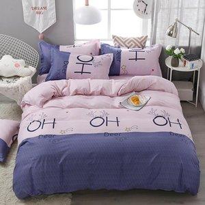 Deer Letter Alphabet Printed Kid Bed Cover Set Duvet Cover Adult Child Bed Sheets And Pillowcases Comforter Bedding Set J038