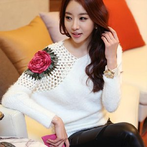Free Shipping New Fashion 2020 Spring Autumn for womens sweaters oversized loose Warm Flower Knitted Pullovers sweaters